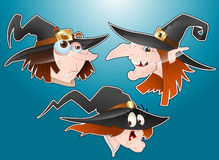 Halloween Witches Faces Stock Photo