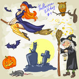 Halloween Witches - 2. Hand drawn collection Royalty Free Stock Photo