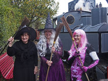 Halloween witches. HESKETH BANK, LANCASHIRE, UK. 27th October 2013. Witches in fancy dress celebrating Halloween at West Lancashire Light Railway stock photography