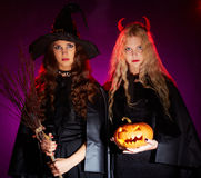 Halloween witches Stock Images