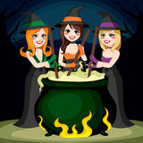 Halloween Witches Potion. Three Halloween witches cooking potion brew in cauldron together Stock Photos