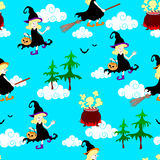 Halloween witches  seamless pattern Royalty Free Stock Image