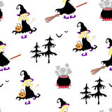 Halloween witches  seamless pattern Stock Photography