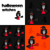 Halloween witches. Three halloween patterns with witches Stock Photo