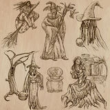 Halloween, Witches and Wizards - Hand drawn vector pack. Halloween (Witches and Wizards) - Collection (no.2) of an hand drawn illustrations. Description: Each Stock Photo