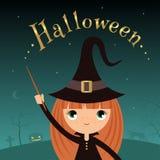 Halloween-witchgirl Lizenzfreie Stockfotografie