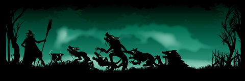 Halloween Witching banner. Illustration of a witches ritual. Witch is summoning beasts creatures in the heart of forest. Black silhouettes on the green Stock Photos