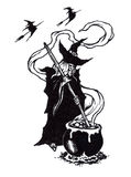 Halloween Witchs Brew. A Halloween Hag and Witchs Brew being stirred stock illustration