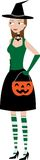 Halloween Witchy Woman holding candy holder Stock Image