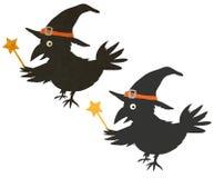 Halloween Wizard Crow. Funny Halloween illustration Stock Photos
