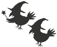 Halloween Wizard Crow Silouhettes Royalty Free Stock Image