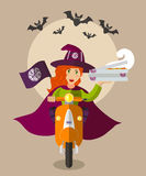 Halloween wizard food-deliverygirl on scooter with boxes of pizza Stock Image