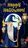 Halloween wizard sorcerer and witch black cat. Happy Halloween holiday celebration poster, evil wizard sorcerer man with magic stick cane and candle light in royalty free illustration