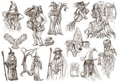 Halloween, Wizard and Witches - An hand drawn white pack Stock Image