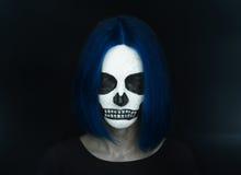 Halloween woman skull stock photo
