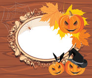 Halloween wooden frame. With pumpkins. Illustration Royalty Free Stock Image