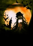 Halloween wooden monster illustration Stock Photo