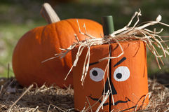 Wooden Halloween Pumpkin Head Royalty Free Stock Photography