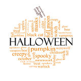 Halloween word cloud concept in Pumpkin Shape Stock Images