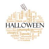 Halloween word cloud concept in Pumpkin Shape Stock Images