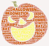 Halloween word cloud. In shape of a orange pumpkin on with words related to halloween Royalty Free Stock Photos