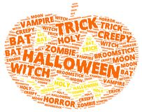 Halloween word cloud in shape of a orange pumpkin. On with words related to halloween Royalty Free Stock Images