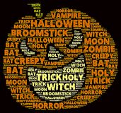 Halloween word cloud. In shape of a orange pumpkin on with words related to halloween Stock Image