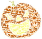 Halloween word cloud in shape of a orange pumpkin. On with words related to halloween Stock Photography