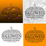 Halloween Word Clouds - Set of 4 Royalty Free Stock Photos