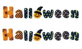 Halloween. Word letters Halloween handmade polymer clay plasticine Isolated postcard Stock Photo