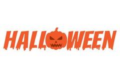 Halloween word with pumpkin, Vector Illustration Royalty Free Stock Photo
