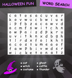 Halloween word search. Word search game for halloween. The words may be horizontally, vertically and diagonally Royalty Free Stock Photo