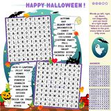 Halloween word search puzzle. Halloween holiday zigzag word search puzzle, answer included, illustrated jack-o-lantern pumpkin, bats, black cat, ghost, spider vector illustration