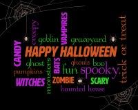 Halloween-Wort-Wolke stockfotos