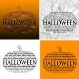 Halloween-Wort-Wolken - Satz von 4 Lizenzfreie Stockfotos