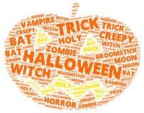 Halloween-Wortwolke in Form eines orange Kürbises lizenzfreie stockbilder