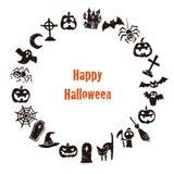 Halloween wreath with jack o lantern, bat, grave and spider stock illustration