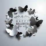 Halloween Wreath made of white black and grey paper Butterflies Stock Image