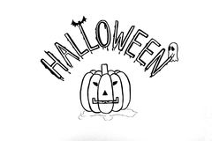 Halloween writing on white paper Royalty Free Stock Photos