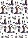 Halloween wzór kapelusz, kot, czaszka Obrazy Stock