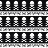 Halloween wzór z czaszkami i pająkami Obraz Royalty Free