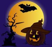 Halloween y calabaza real Foto de archivo libre de regalías