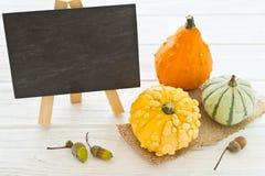 Halloween y decoración del otoño con las calabazas Imagen de archivo libre de regalías