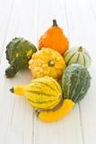 Halloween y decoración del otoño con las calabazas Fotografía de archivo