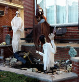 Halloween yard decorations ghosts and skeletons stock images