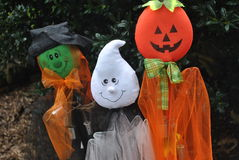 Halloween  yard  decrorations. A  witch,ghost  and  pumpkin  yard  decrorations Stock Photography
