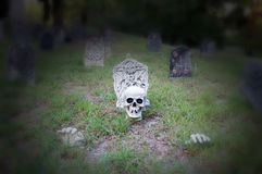 Halloween yard display with tombstones Stock Image