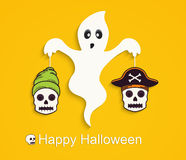 Halloween yellow background with scary ghost and skulls. Stock Photo