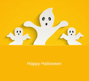 Halloween yellow background with scary ghosts. Stock Images