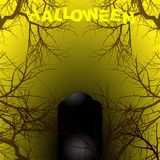 Halloween yellow and black background with text and tombstone Stock Images
